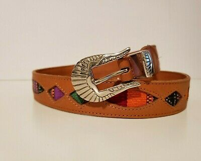 Womens Vintage Leather Belt Size 32 with Ethnic Woven Textile Detail