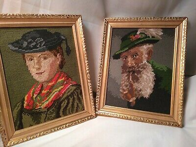 Finished pr 2 Vintage Needlepoint Art Germany Alps Father and son Portraits Rare