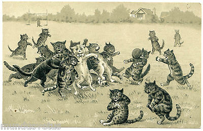 Not Signed. Louis Wain. Cats Humanisés. Humanized Cats. La Part Rugby