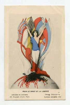 R. Kirchner .WW1 Patriotic. the EAGLE German. Marianne. the Allies.