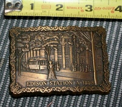 """""""Edison Station A 1888"""" Belt Buckle Greenfield Village Discontinued Too Cool 😎"""