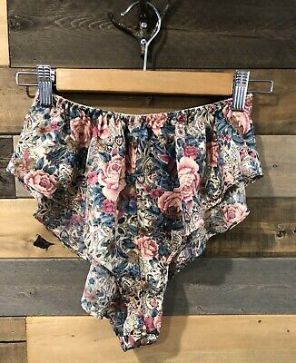 VTG Victoria's Secret Panties Floral Pink Satin French Cut Flutter Panty Brief P