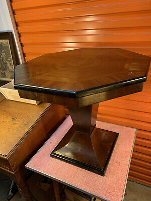 Vintage Australian 1940's Art Deco Walnut Veneer Hexagonal Pedestal Side Table