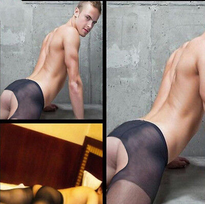 Sexy Men's Crotchless Pantyhose Sheer Bottomless Tights Pants Clubwear Underwear