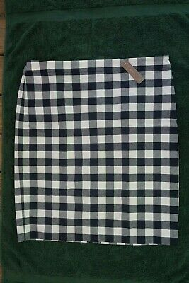 8130727c8aa6 J. Crew Nwt $98 Pencil Skirt Bi-Stretch Cotton Navy/Ivory Gingham Sz