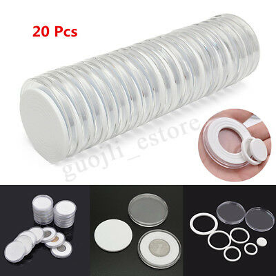 20Pcs 16-36mm Plastic Clear Round Cases Coin Storage Capsules Holder Round NEW