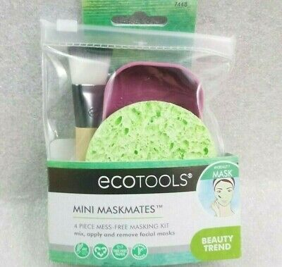 EcoTools Mini Maskmates #7448 4pc Mess Free Masking kit Brush Sponge 100% Vegan