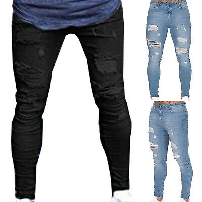 Mens Jeans Ripped Skinny Distressed Stretch Pants Frayed Biker Trousers Bottom