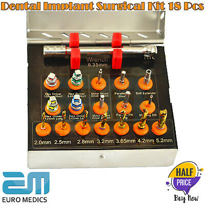 Dental Implant Surgical Drills Kit Wrench Ratchet Driver Screws 18Pcs Instrument