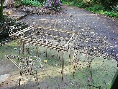 Antique Vintage Retro Wrought Iron Table & 4 x Chairs