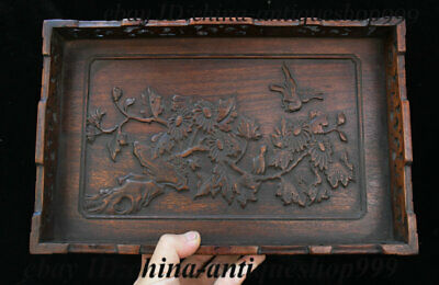 """13"""" Old Chinese Huanghuali Wood Flower Bird Tray Salver Saucer Pallet Tea-Things"""