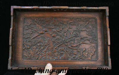 "13"" Old Chinese Huanghuali Wood Flower Bird Tray Salver Saucer Pallet Tea-Things"