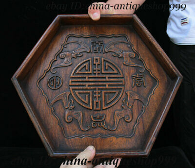 """14"""" Old Chinese Huanghuali Wood 6 Horn Bat Tray Salver Saucer Pallet Tea-Things"""