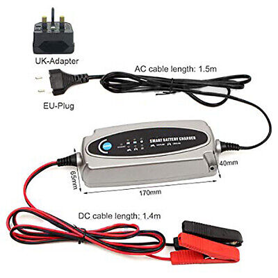 5-stage 12V Smart Battery Charger 0.8A 3.6A Car Maintainer Motorcycle 2-100Ah