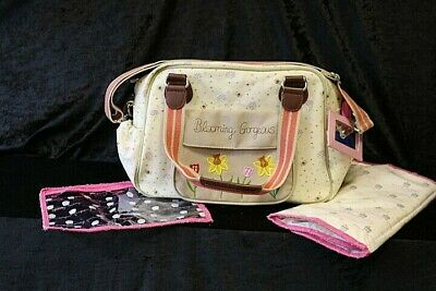 BLOOMING GORGEOUS Baby Changing Bag inc Mat & Extra Small Bag floral and Bee C1