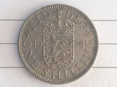 1958 British Silver One Shilling Coin, QEII, English Arms, 3 Lions.