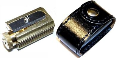 DUX Pencil and crayon Sharpener made of brass in a genuine leather case
