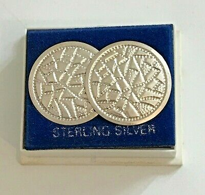 Vintage Sterling Silver Large Shield Earrings ~ New old Stock ~ Original Box