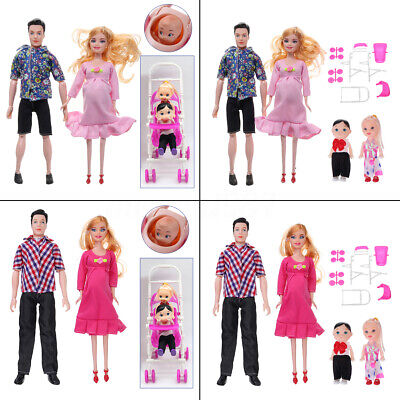 5 People Dolls Family Educational Real Pregnant Doll Happy Family Gift Pink Red