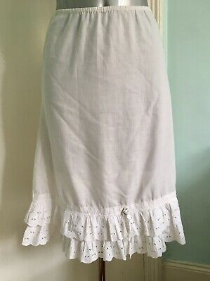 Original Vintage 60s 70s White Broderie Anglais Frill Half Slip Petticoat 12 14