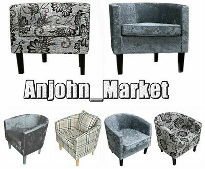 Velvet/Fabric Tub Chair Armchair Cafe Bedroom Living Room Chair Crushed  Sofa