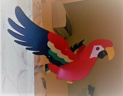 Large Colourful Wooden Hanging Flying Flapping Parrot and Pelican Bird Mobile