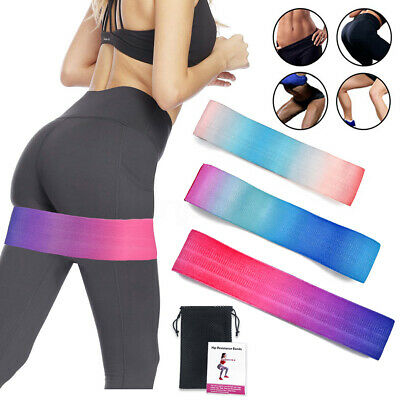 AU Resistance Booty Bands Set 3 Hip Circle Loop Bands Workout Exercise Guide Bag