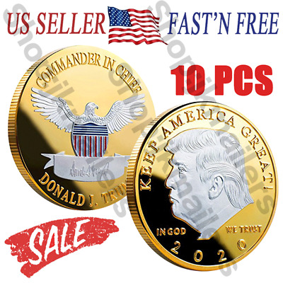 Donald J Trump 2020 Keep America Great! Presidentiall Challenge Gold Coins 10PCS