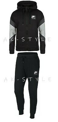 New Mens Nike Air Tracksuit Full Zip Top Bottoms Fleece Hoodie Air Print Jogger