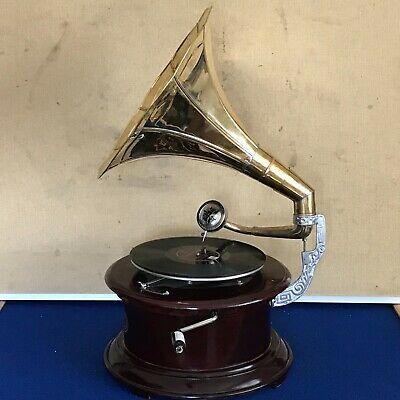 Working brass horned wind up gramophone