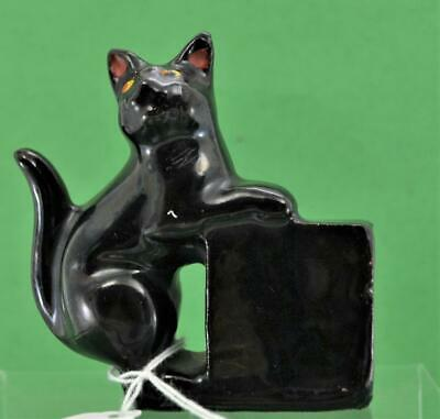 "Antique Staffordshire Jackfield Lucky Black Cat Figurine red clay 3 "" x 3"""