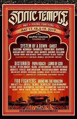 Sonic Temple Festival 3-Day Weekend Stadium GA Tickets Wristbands Columbus, OH