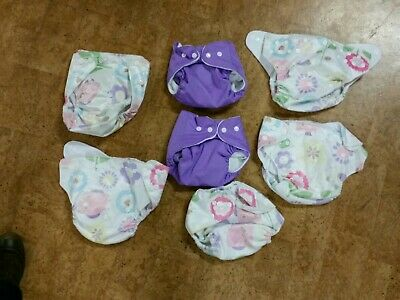 NEW Newborn to toddler mcn pocket nappies  pretty minky owls flowers purple