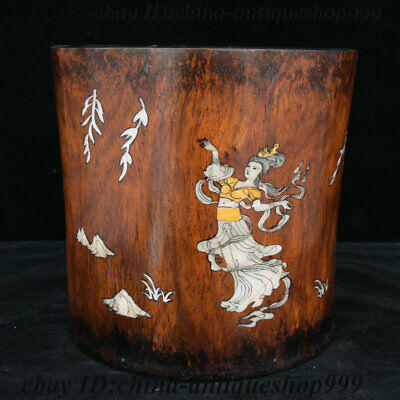 "8"" China Huanghuali Wood Inlay Shell Beauty Ancient Works Brush Pot Pencil Vase"
