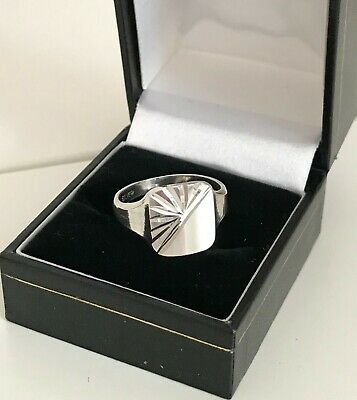 Vintage Sterling Silver Diamond Cut Signet Ring  ~ New Old Stock ~  Size: R