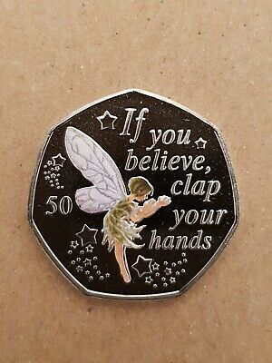 2019 Peter Pan 50 p coin - Tinkerbell  MINT NEW + decal