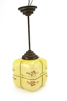 Art Deco Handpainted Glass Cube Hall Lamp Chandelier E/0102