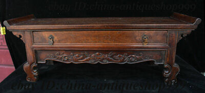 """22"""" China Huanghuali Wood Carving Drawer Locker Serve the immortal table Statue"""