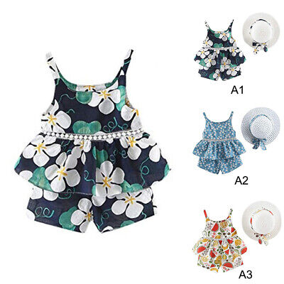 Girls Summer Outfit Toddler Baby Tops Shorts Casual Hat Clothing Set