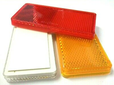 Reflectors. Self adhesive. 99mm x 44mm. Red. Clear. Amber. 4 of each colour!