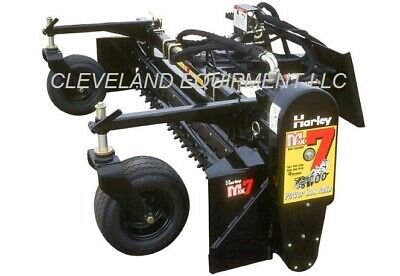 """84"""" HARLEY RAKE ATTACHMENT by PALADIN MX7H HYDRAULIC ANGLE Skid Steer Loader 7'"""
