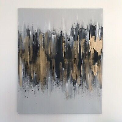 Large ORIGINAL HAND PAINTED ABSTRACT  24in x 30in Box Canvas Acrylic, Grey, Gold