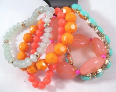New 5 Piece Bracelet Set with Pink Coral Orange Green Beads from Cato #B1340