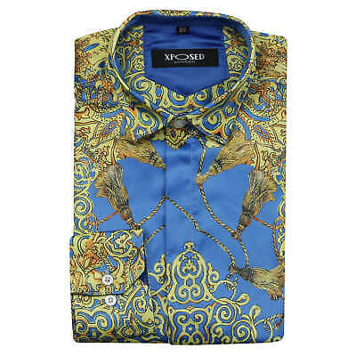 Mens Designer Style Blue Gold Floral Paisley Print Silky Satin Feel Dress Shirt