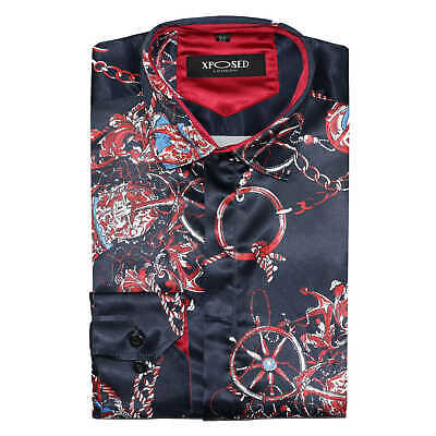 Mens Navy Red Italian Designer Style Printed Silk Satin Feel Smart Retro Shirt