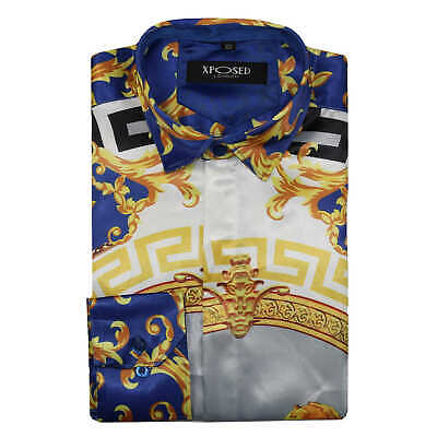 Mens Blue Gold White Retro Lion Medusa Print Silky Satin Feel Party Shirt UK