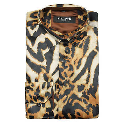Mens Gold Leopard Rosettes Animal Print Satin Silk Feel Retro Party Shirt