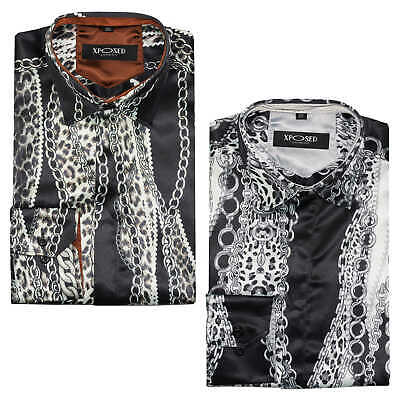 Mens Retro Chain Print on Black Grey Dress Shirt Smart Silky Feel Party Wear