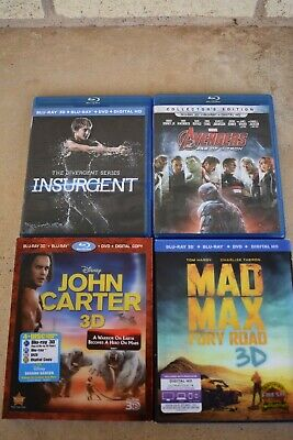 4 3D Blu-ray ONLY Movies Mad Max, Avengers, John Carter, Disney, Insurgent