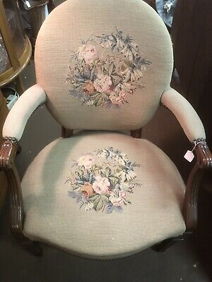 French Needlepoint Hand Carved Wood Chair Vintage Wooden Seat Old